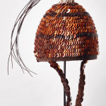 Ceremonial hat.  Bwani society, Lega people, DRC, early to mid-20th century.  Decorated with old buttons woven onto  a wicker frame. Bryan Reeves
