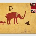 Asafo Fante flag: two elephants (mother and child), Ghana, ca.1890. Appliqué cotton on cotton 83.5 x 138.5 cm Kapil Jariwala