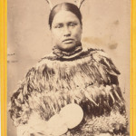 Maori woman with a feather cape, ca. 1880.  CDV photo by T E Price Masterton, New Zealand.  10 x 6 cm. Lisa Tao & Reuben Reubens