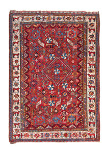Shekarlu rug, Qashqa'i tribe, southwest Persia, ca. 1860, 7ft. 0 in. x 5ft. 2 in. Lot 24, Azadi Collection, Austrian Auction Company, 19 November, estimate: €7.000 – 9.000. Siawosch Azadi is well known for his work on Turkmen weaving as well as Persian tribal rugs, and this carpet represents perhaps the best Fars area carpet in his collection. The field and border of this rug are not typical, the pride of lions patrolling between the hooked octagons in the border is particularly rare. Two examples published by James Opie in Tribal Rugs (1992, fig. 10.6-10.7) have lions in the field, but these are on white grounds and lack the density of decoration, profusion of unusual motifs and clarity of colour of the present example. The relatively low estimate should mean a good result in the auction.