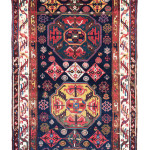 Kurdish long rug, west Persia, late 19th century, 13ft. 11in. x 5ft. 7in. Lot 179, Austrian Auction Company, 19th November, estimate: € 4.000 – 6.000. This interesting rug seems to have a design little known in pile rugs and echoes those seen on mafrash panels and sumakh bags. Although it is attributed to Kurdish tribes around Karaja in northern Iran, a n area with Azeri, Shahsavan and Talish populations. The addition of two prayer arches either end of the field mark this out as being a more interesting weaving deserving of collector interest.