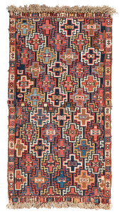 Moghan sumakh, Azerbaijan, second half 19th century, 3ft. 2in. x 1ft. 9in. Lot 187 Austrian Auction Company, 19th November, estimate: €1.400 – 1.800. Although offered in a previous sale, this unusual sumakh bag is made up of two bags face fragment sewn together. The colours and wool quality of the bags from the Moghan area of the Transcaucasian region are always exceptional and reflect those of the rugs and flatweaves. There are only a few sumakh bags with the all-over Memling göl design, the best of which is in a US private collection. Although damaged the exceptional quality of this fragment is worthy of addition to any good collection.