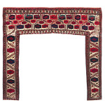 Salor kapunuk, Turkmenistan, mid 19th century, 4ft. 2in. x 4ft. 6in. Lot 195, Austrian Auction Company, 19th November, estimate: € 35.000 – 45.000. If Salors were once considered rare, then Salor kapunuks were almost unknown. There are approximately eight known, including one in the V&A, London and another in the Russain Ethnographic museum. Most the examples have similar designs and colours, and may range in date from mid-19th century to 18th century. There was one on the market in the last few years, which still had its fine tassels attached, however this example has a beautiful range of colours, including the use of two colours of silk, and movement in the drawing which suggests that it is earlier in the 19th century than later. In comparison to previous auction results and prices on the private market, this does not appear expensive.