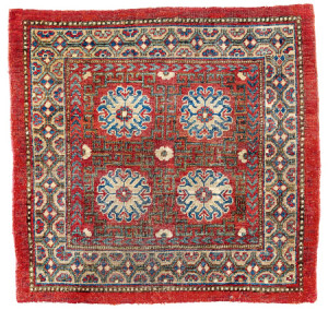 Khotan Sitting Mat, Central Asia, East Turkestan, ca. 1800. Rippon Boswell, Wiesbaden, 3 December, lot 60, 85 x 89 cm, estimate €2,500.00. Published: Bausback, Peter, Antike Orientteppiche (Brunswick 1978, ill. p. 534); Rippon Boswell, A 53, 20th November 1999, lot 77; König, Hans, 'Happy Squares',. HALI 181, (p. 92, no. 7)