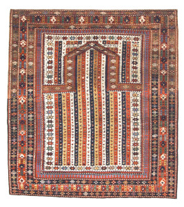 Shirvan Prayer Rug, 19th C (3rd Q), Caucasus. This prayer is inscribed and dated 1291, concurrent with the Western year 1874. Collection of Mr. and Mrs. Bruce Baganz. On show in Artful Weavings, Peter Pap at San Francisco Tribal Art Show, Fort Mason, 9-12/02/17, then at Peter Pap Gallery 15/02-10/03/17.
