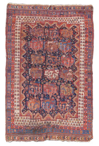 Afshar, late 19th C. Collectors of south Persian tribal weaving sometimes refer to this design as 'gol-i-kadkhodai,' which translates from Farsi as 'village headman's flower'. Collection of Mr. and Mrs. John Corwin. On show in Artful Weavings, Peter Pap at San Francisco Tribal Art Show, Fort Mason, 9-12/02/17, then at Peter Pap Gallery 15/02-10/03/17.