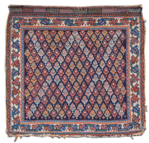 Afshar bagface, c. 1900, Persia. Collection of Mr. and Mrs. John Corwin. On show in Artful Weavings, Peter Pap at San Francisco Tribal Art Show, Fort Mason, 9-12/02/17, then at Peter Pap Gallery 15/02-10/03/17.