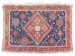 Afshar bagface, late 19th C., Persia. Collection of Mr. and Mrs. John Corwin On show in Artful Weavings, Peter Pap at San Francisco Tribal Art Show, Fort Mason, 9-12/02/17, then at Peter Pap Gallery 15/02-10/03/17.