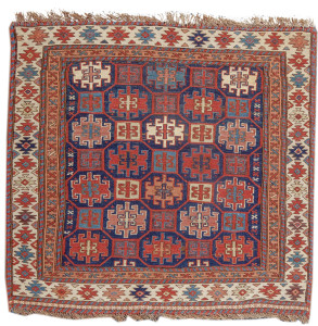 Shahsevan sumak bag, 19th C,  Caucasus. Collection of Dr. and Mrs. William T. Price. On show in Artful Weavings, Peter Pap at San Francisco Tribal Art Show, Fort Mason, 9-12/02/17, then at Peter Pap Gallery 15/02-10/03/17.