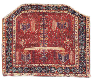 Afshar saddle cover, c. 1900, Persia.  Property of the Thomas D. Cook Family Collection. On show in Artful Weavings, Peter Pap at San Francisco Tribal Art Show, Fort Mason, 9-12/02/17, then at Peter Pap Gallery 15/02-10/03/17.