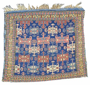 "Shahsevan sumak bag, 19th C,  Caucasus.  Collection of Mr. and Mrs. Wendell Swan. The pair to this bag is published in John Wertime's ""Sumak Bags of Northwest Persia and Trans-Caucasia"" plate 63. Collection of Mr. and Mrs. Wendell Swan. On show in Artful Weavings, Peter Pap at San Francisco Tribal Art Show, Fort Mason, 9-12/02/17, then at Peter Pap Gallery 15/02-10/03/17."