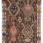 "Shahsevan rug, 19th C (1st half),  Caucasus. Published in Edoardo Concaro and Alberto Levi ""Sovereign Carpets:Unknown Masterpieces from European Collections"" (1999). Collection of Mr. and Mrs. Wendell Swan Collection of Mr. and Mrs. Wendell Swan. On show in Artful Weavings, Peter Pap at San Francisco Tribal Art Show, Fort Mason, 9-12/02/17, then at Peter Pap Gallery 15/02-10/03/17."