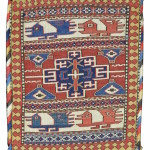 Shahsevan sumak bag, 19th C (1st half), northwest Persia. This rare but iconic sumak bag was most likely woven in the Hashtrud-Miyaneh area of Azerbaijan in Northwest Persia. Collection of Mr. and Mrs. Wendell Swan. On show in Artful Weavings, Peter Pap at San Francisco Tribal Art Show, Fort Mason, 9-12/02/17, then at Peter Pap Gallery 15/02-10/03/17.
