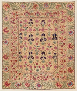 Ura Tube Suzani. Lot 269 . Central Asia, North East Uzbekistan, 172 x 142 cm. Ca. 1750 or earlier. Estimate €40,000 - 48,000