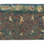CHRISTIE'S LONDON, 25 APRIL 2017, LOT 198.  PROPERTY OF A PRIVATE ITALIAN COLLECTOR. A FRANCO-FLEMISH MILLEFLEURS TAPESTRY FRAGMENT, 16TH CENTURY. 4 FT. 10 IN. (148 CM.) X 6 FT. 10 IN. (208 CM.) WIDE. ESTIMATE £30,000-50,000