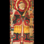 "Banner, China Yao, Late 19th-Early 20th Century. 1' 7"" x 4' 3"" (48.3 x 129.5cm); Tempera painting on handmade paper. Scroll form banner on handmade paper with sticks of bamboo securing ends. Tempera painting of a haloed central figure holding a scroll, and wearing an elaborate robe, birds and a canopy decorating the top section. Roger Hollander Collection - Primary collection"