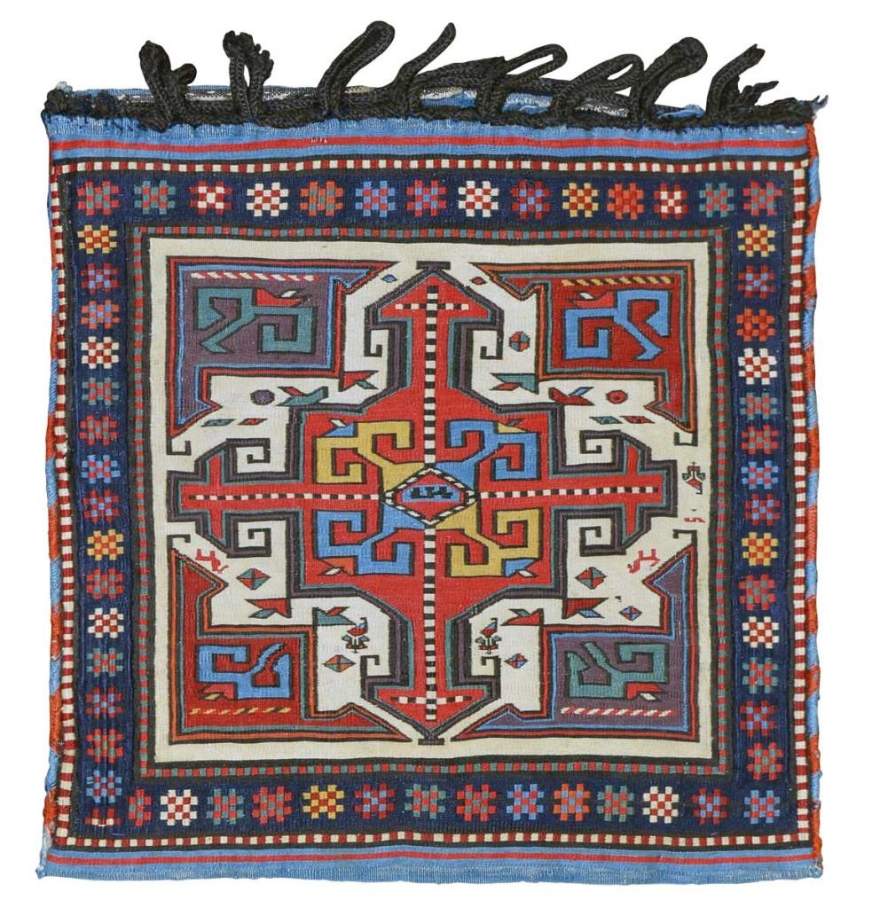 "Shahsavan sumakh bag, northwest Persia, Moghan-Savalan region, 19th century. 0.51 m (1' 8"") square. Wendel R. Swan Collection, Peter Pap, San Francisco"