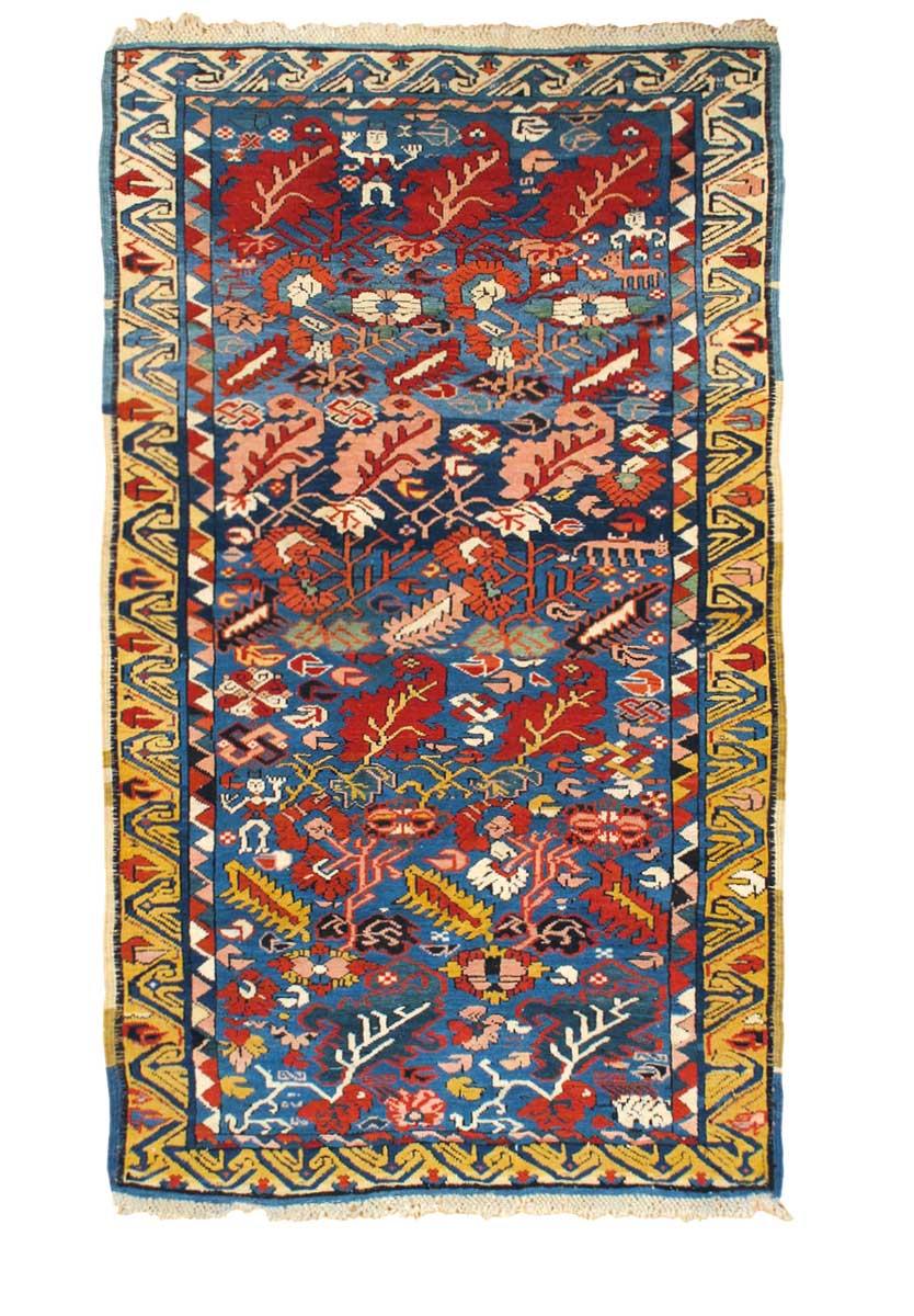 "Zeikhur rug, northeast Caucasus, circa 1870. 0.99 x 1.65 m (3' 3"" x 5' 5""). Hagop Manoyan, New York"
