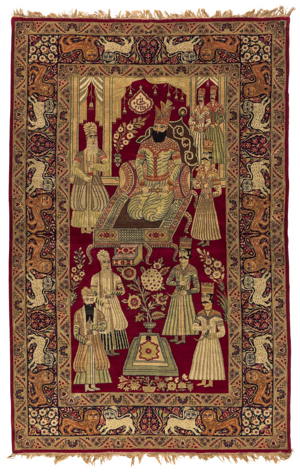 Kerman Pictorial Rug Southeast Iran Late 19th Century 240 X 140 Cm This Inscribed Portrays The Afsharid Shah Nader R