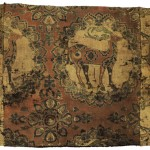 Lot 160. A fine silk samite fragment with deer, Central Asia, Sogdiana, 8th/9th century. 45.5 by 62cm. Estimate £15,000 — 20,000