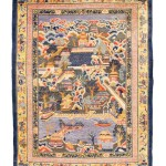 CHRISTIE'S LONDON, 27 APRIL 2017. LOT 202. SILK AND METAL-THREAD CHINESE CARPET DEPICTING PARTS OF THE GROUNDS OF THE SUMMER PALACE, BEIJING, CIRCA 1910. 12FT.1IN. X 9FT. (367CM. X 274CM.). ESTIMATE £15,000 – 20,000