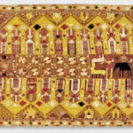 Darshan Dwar Phulkari, 20th century. Artist/maker unknown, Punjabi. Handspun, handwoven cotton plain weave (khaddar) with silk and cotton embroidery in darning, pattern darning, buttonhole, herringbone, running and Cretan stitches, 7 feet 5 inches × 50 inches (226.1 × 127 cm). The Jill and Sheldon Bonovitz Phulkari Collection.