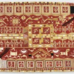 Sainchi Phulkari, 20th century. Artist/maker unknown, Punjabi. Handspun cotton plain weave (khaddar) with silk, cotton, and wool embroidery in darning, pattern darning, buttonhole, herringbone, running, chain and Cretan stitches, 7 feet 5 1/2 inches × 48 1/2 inches (227.3 × 123.2 cm). The Jill and Sheldon Bonovitz Phulkari Collection.
