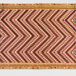 Bagh Phulkari, 20th century. Artist/maker unknown, Punjabi. Handspun cotton plain weave (khaddar) with silk embroidery in darning, pattern darning, running, chain and cross stitches, 8 feet 3 3/4 inches × 59 1/2 inches (253.4 × 151.1 cm). The Jill and Sheldon Bonovitz Phulkari Collection.