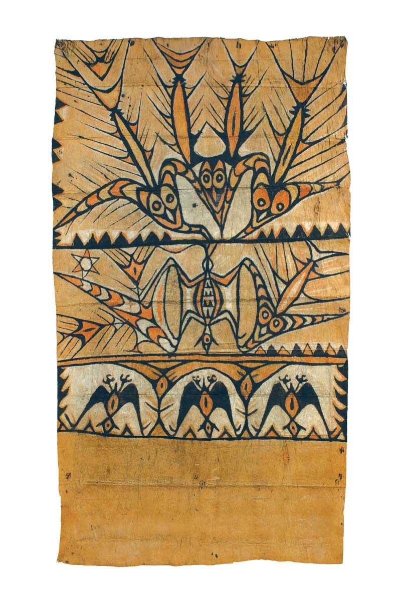 "Lake Sentani tapa cloth maro, northwest New Guinea, early 20th century. Barkcloth, natural dyes, pigment, 1.16 x 0.70 m (3' 9""x 2' 3""). Vicki Shiba, Mill Valley, California"