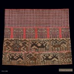 "Skirt, China Li Run, Early 20th-Mid 20th Century. 1' 3"" x 1' 1/2"" (38.1 x 31.8cm); Cotton; supplementary warp float, supplementary weft float. Short tube skirt constructed of three strips of supplementary weft float and one strip of supplementary warp float techniques. Run dialect. Roger Hollander Collection - Primary collection"