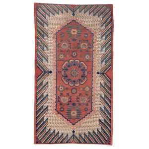 Lot 406, sonic wave design carpet, East Turkestan, late 19th century. Wannenes, 25 May, OpenCare, Milan, estimate € 4,800 - 5,500