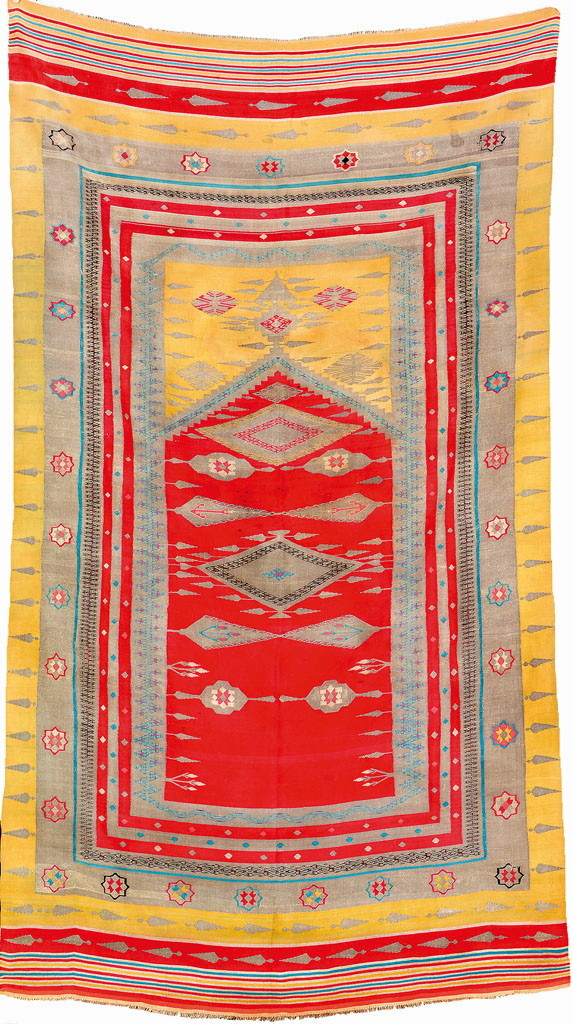 Silk & Silver Metal-Thread Aleppo Prayer Kilim, North Syria, first half 19th century, Estimate €4,500–12,000