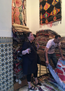 Tour guest and Alabama rug retailer, Paige Albright enjoys a refreshing mint tea mid shopping spree, Bazar du Sud house, Marrakesh