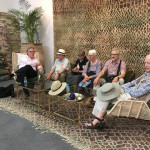 Thomas Murray, Garland and Suzanne Marshall, Angela and John Rutherford and Tracey Zellmann await mint tea at the Soufiane showroom, Marrakesh