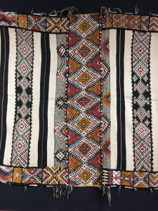 19th century Ait Ouarda weaving (detail) with decorative bands extending into the border, Abdelhay Collection, Mouassine Museum, Marrakesh
