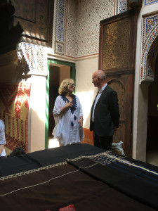 Tour guest, Barbara Kaslow and Mouassine Museum owner, Patrick Manac'h, Marrakesh