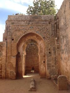 Islamic patterns on a ruined gateway, Chellah Gardens, Rabat