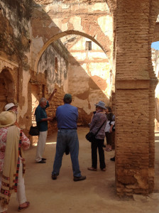 Wilfried Stanzer presenting to the group at Chellah Gardens, Rabat
