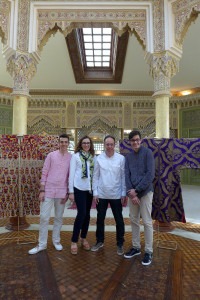 Lamiaa and Khalid El Kholti with their two sons who are also involved in the sourcing of Moroccan textiles for the family collection