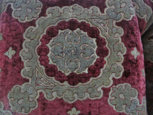 Detail from a remarkably well-preserved Ottoman or Italian velvet robe in the Bucharest National Art Museum