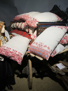 Textile goods from the museum of the Székely people, a Hungarian-speaking minority