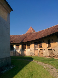 The courtyard of a fortified church. In times of unrest, the community would have moved within its walls