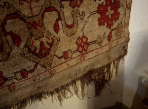 Transylvanian church rug with an inscribed donation date