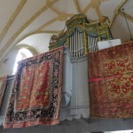 Rugs majestically displayed in one of Transylvania's many churches