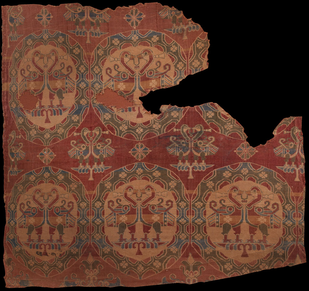 A-Sogdian-woven-silk-fragment-Central-Asia,-8th-Century