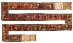 Lot 65. Yomut Turkmen all-pile Yolami (tent band), Central Asia, West Turkestan,  Ca. 1800, 1378 x 36 cm . Estimate €15,000
