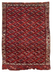 Lot 45. Tekke Turkmen Main Carpet, Central Asia, West Turkestan.  Mid 19th century. 263 x 184 cm. Estimate € 12,000.00