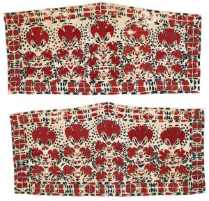Lot 64. Two Tekke Turkmen embroidered asmalyks , Central Asia, West Turkestan, ca. 1800 or earlier. Each 61 x 125 cm. Estimate € 5,000.