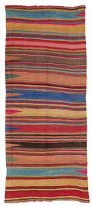 Lot 80 . Mianeh Kilim, North West Persia, Azerbaijan,  Mid 19th century. 270 x 121 cm. Estimate €1,800.00