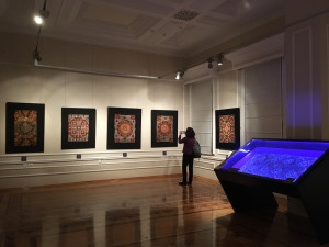 Kaitag embroideries in the ISAC temporary exhibition 'Silk Treasures' at ANMA, Baku